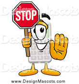 Illustration of a Calculator Mascot Holding a Stop Sign by Toons4Biz