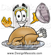 Illustration of a Calculator Mascot Serving a Roasted Turkey on a Platter by Toons4Biz