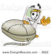 Illustration of a Calculator Mascot with a Computer Mouse by Toons4Biz