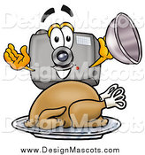 Illustration of a Camera Mascot Holding a Cloche over a Roasted Turkey by Toons4Biz