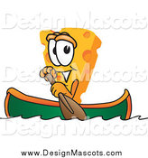 Illustration of a Canoeing Cheese Mascot by Toons4Biz