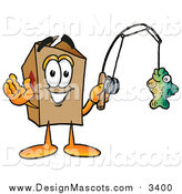 Illustration of a Cardboard Box Mascot Holding a Fish on a Fishing Pole by Toons4Biz