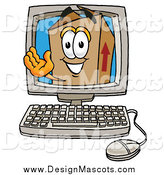Illustration of a Cardboard Box Mascot Waving from Inside a Computer Screen by Toons4Biz