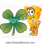 Illustration of a Cheese Mascot with a Shamrock Clover by Toons4Biz