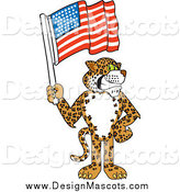 Illustration of a Cheetah Jaguar or Leopard Mascot Holding an American Flag by Toons4Biz