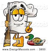 August 25th, 2015: Illustration of a Chefs Hat Mascot Duck Hunter with a Rifle and Decoy by Toons4Biz
