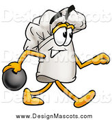 Illustration of a Chefs Hat Mascot in Profile, Bowling by Toons4Biz