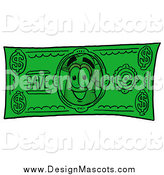 Illustration of a Chefs Hat Mascot on a Dollar Bill by Toons4Biz