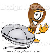 Illustration of a Chicken Drumstick Mascot Waving by a Computer Mouse by Toons4Biz