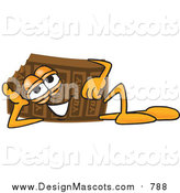 Illustration of a Chocolate Candy Bar Mascot Resting on His Side by Toons4Biz