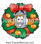 Illustration of a Christmas Wreath and Welcoming Trash Can Mascot by Toons4Biz