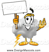 Illustration of a Cloud Mascot Holding a Blank Sign by Toons4Biz