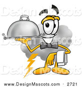 Illustration of a Cloud Mascot Waiter Holding a Serving Platter by Toons4Biz