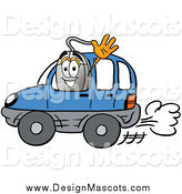 Illustration of a Computer Mouse Mascot Waving and Driving a Car by Toons4Biz