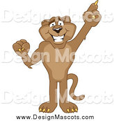 February 5th, 2014: Illustration of a Cougar Mascot Pointing Upwards by Toons4Biz