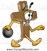 Illustration of a Cross Mascot Holding a Bowling Ball by Toons4Biz