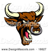 January 31st, 2018: Illustration of a Demonic Roaring Brown Bull Mascot by AtStockIllustration