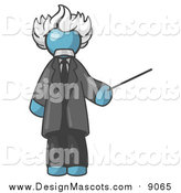 Illustration of a Denim Blue Albert Einstein Holding a Pointer Stick by Leo Blanchette