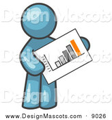 Illustration of a Denim Blue Man Holding a Bar Graph by Leo Blanchette