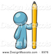 Illustration of a Denim Blue Man Holding a Giant Yellow Number Two Pencil by Leo Blanchette