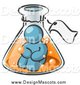 Illustration of a Denim Blue Man Inside a Potion in a Laboratory Beaker by Leo Blanchette