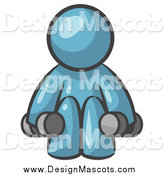 Illustration of a Denim Blue Man Squatting with Dumbbells While Strength Training by Leo Blanchette