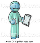 Illustration of a Denim Blue Surgeon Holding a Pen and Clipboard by Leo Blanchette