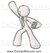 Illustration of a Design Mascot Man Dancing While Listening to Music with an Mp3 Player by Leo Blanchette