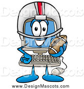 Illustration of a Desktop Computer Mascot Playing Football by Toons4Biz
