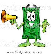 Illustration of a Dollar Bill Mascot Announcing with a Megaphone by Toons4Biz