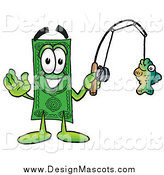 Illustration of a Dollar Bill Mascot Fishing by Toons4Biz