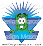 Illustration of a Dollar Bill Mascot on a Blue Burst Label by Toons4Biz