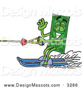 Illustration of a Dollar Bill Mascot Waving and Water Skiing by Toons4Biz