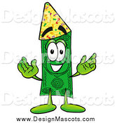 Illustration of a Dollar Bill Mascot Wearing a Party Hat by Toons4Biz