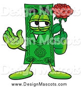 Illustration of a Dollar Bill Mascot with a Rose by Toons4Biz
