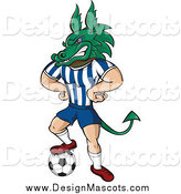 Illustration of a Dragon Mascot in Uniform, Resting One Foot on a Soccer Ball by Paulo Resende