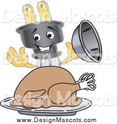 Illustration of a Electric Plug Mascot Serving a Thanksgiving Turkey on a Platter by Toons4Biz