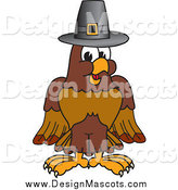 Illustration of a Falcon Mascot Wearing a Thanksgiving Pilgrim Hat by Toons4Biz