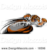 Illustration of a Fast Tiger Mascot Running Real Quick with Motion Blurred Legs by Chromaco