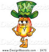 Illustration of a Flame Mascot Wearing a Saint Patricks Day Hat by Toons4Biz