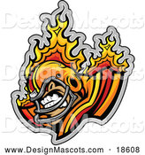 Illustration of a Flaming Football Player Mascot by Chromaco