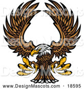 Illustration of a Flying Bald Eagle Mascot with Extended Talons and Wings by Chromaco
