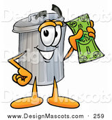 Illustration of a Garbage Can Mascot Holding Cash by Toons4Biz