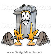 Illustration of a Garbage Can Mascot Lifting a Heavy Barbell by Toons4Biz