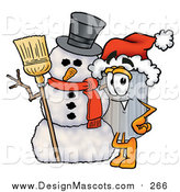 Illustration of a Garbage Can Mascot with a Snowman on Christmas by Toons4Biz