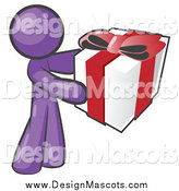Illustration of a Giving Purple Man Holding a Gift by Leo Blanchette