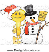 Illustration of a Golden Key Mascot by a Christmas Snowman by Toons4Biz