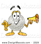 Illustration of a Golf Ball Mascot Holding a Megaphone by Toons4Biz