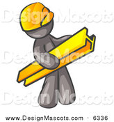 Illustration of a Gray Construction Worker Mascot Wearing a Hardhat and Carrying a Beam at a Work Site by Leo Blanchette