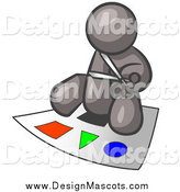 Illustration of a Gray Man Cutting out Colorful Shapes by Leo Blanchette